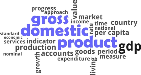 A word cloud of gross domestic product related items Vectores