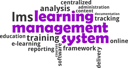 A word cloud of learning management system related items