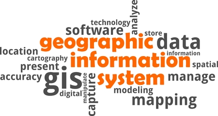 A word cloud of geographic information system related items Vectores