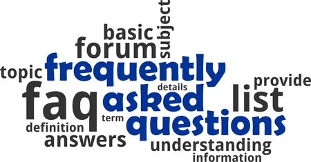 A word cloud of frequently asked questions related items Vectores