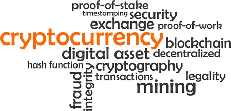A word cloud of cryptocurrency related items Vectores