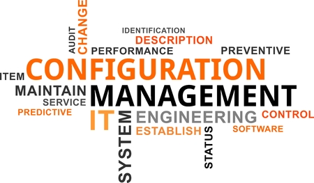 A word cloud of configuration management related items