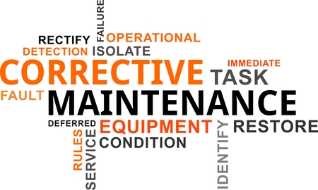 A word cloud of corrective maintenance related items Ilustração