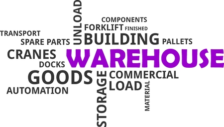 A word cloud of warehouse related items Vectores