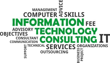 Un nuage de mots d'articles connexes de consultation de technologie de l'information Banque d'images - 84815807