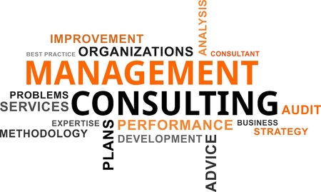 Een woordwolk van management consulting gerelateerde items