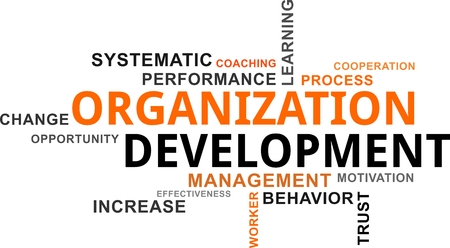 A word cloud of organization development related items.