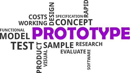 A word cloud of prototype related items Vectores