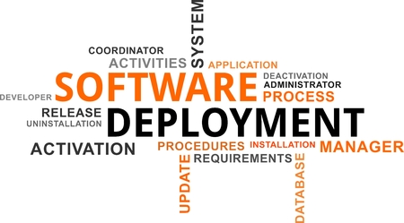 A word cloud of software deployment related items Reklamní fotografie - 85870404