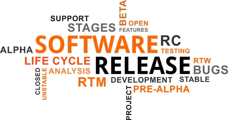 A word cloud of software release related items