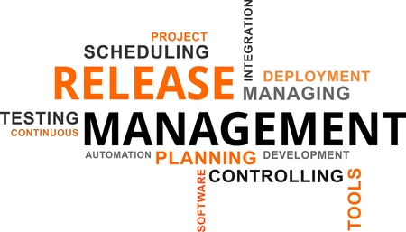 A word cloud of release management related items Ilustrace