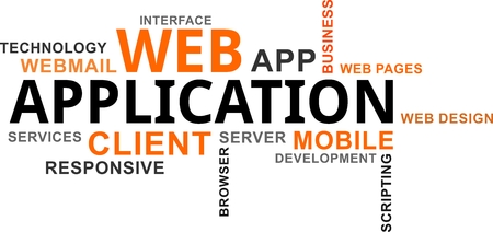 A word cloud of web application related items Vectores