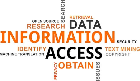 A word cloud of information access related items