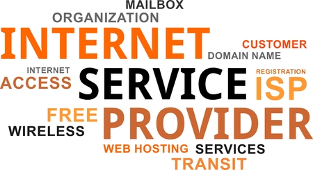 A word cloud of internet service provider related items