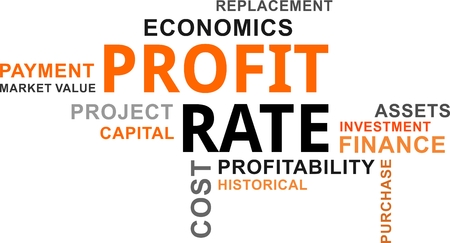 A word cloud of profit rate related items. Stock Illustratie