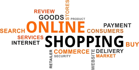 A word cloud of online shopping related items