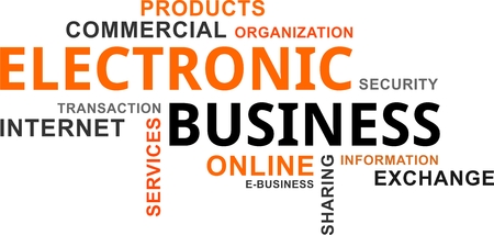 A word cloud of electronic business related items Vectores