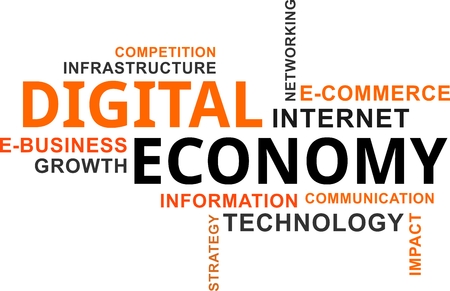 A word cloud of digital economy related items. Stock Illustratie