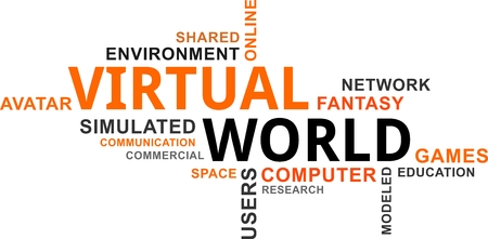A word cloud of virtual world related items Stock Illustratie