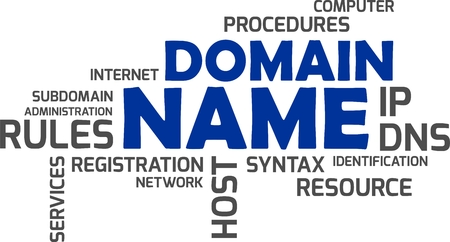 A word cloud of domain name related items. Stock Illustratie