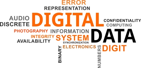 A word cloud of digital data related items, vector illustration.