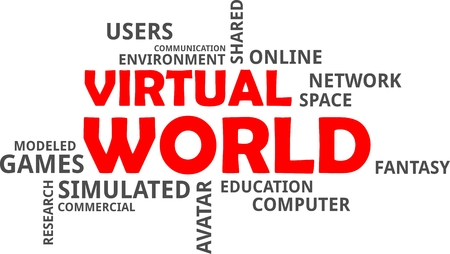 A word cloud of virtual world related items Vectores