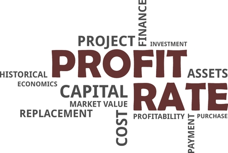 A word cloud of profit rate related items Vectores