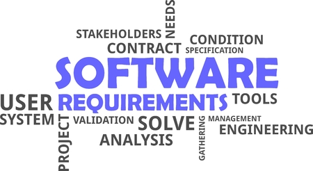 A word cloud of software requirements related items Vectores