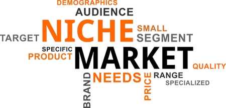 A word cloud of market niche related items