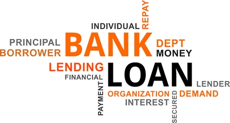 A word cloud of bank loan related items  イラスト・ベクター素材