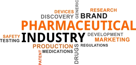 A word cloud of pharmaceutical industry related items Vectores