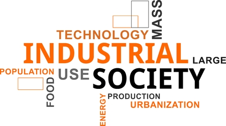 A word cloud of industrial society related items