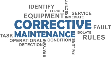 A word cloud of corrective maintenance related items illustration.