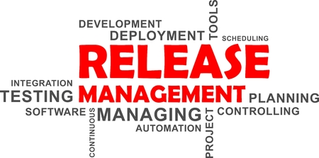 A word cloud of release management related items Vectores