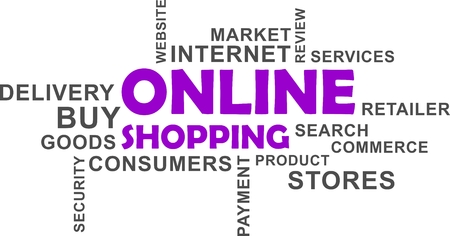 A word cloud of online shopping related items illustration.