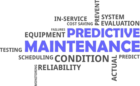A word cloud of predictive maintenance related items