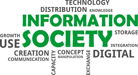 A word cloud of information society related items.
