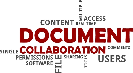 A word cloud of document collaboration related items