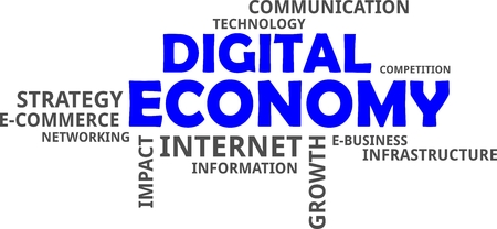 A word cloud of digital economy related items Stock Illustratie