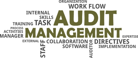 A word cloud of audit management and related items. Vectores