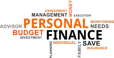 A word cloud of personal finance related items