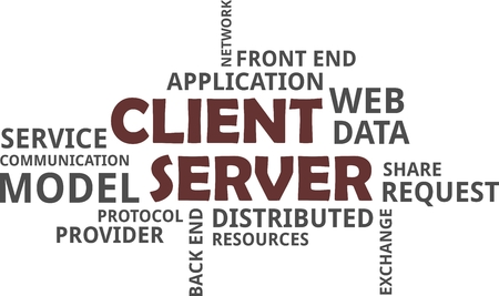 A word cloud of client server model related items Banque d'images - 95602421
