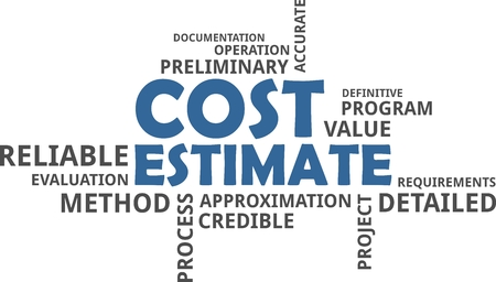 A word cloud of cost estimate related items Vectores