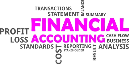 A word cloud of financial accounting related items illustration. Vectores