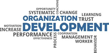 A word cloud of organization development related items Vectores