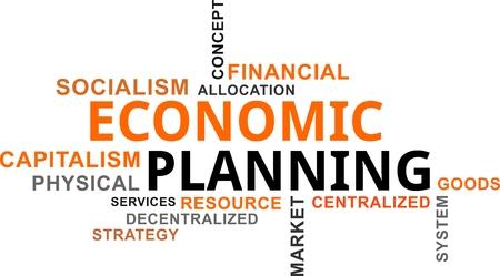 A word cloud of economic planning related items Illusztráció