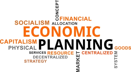 A word cloud of economic planning related items Vectores