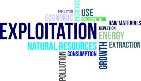 A word cloud of exploitation related items Stock Illustratie