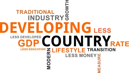 A word cloud of developing country related items Vector illustration.