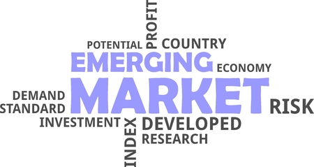 A word cloud of emerging market related items Vectores